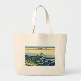 Vintage Japanese Art Kajikazawa Fisherman Large Tote Bag