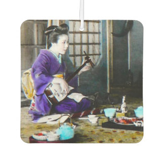 Vintage Japanese Geisha Playing Shamisen Banjo