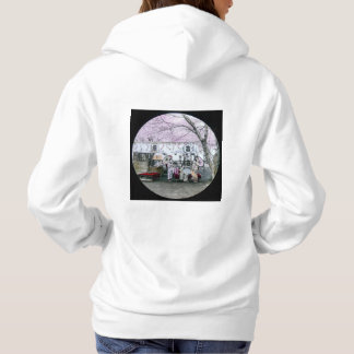 Vintage Japanese Geisha Sit Under Cherry Blossoms Hoodie