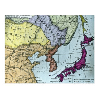 Vintage Japanese Hand Tinted Map 日本 Postcard