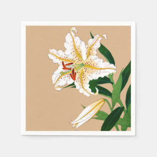 Vintage Japanese Liliy. White, Green and Beige Paper Napkins