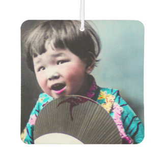 Vintage Japanese Little Girl and Paper Fan Japan Car Air Freshener