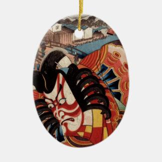 Vintage Japanese Painting - Kabuki Actor Christmas Ornament