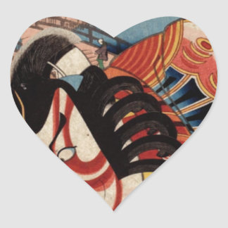 Vintage Japanese Painting - Kabuki Actor Heart Sticker