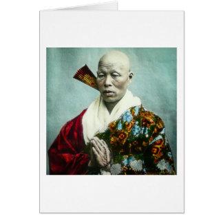 Vintage Japanese Shinto Priest Praying Old Japan Card