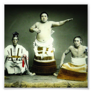 Vintage Japanese Sumo Wrestlers Old Japan Photograph