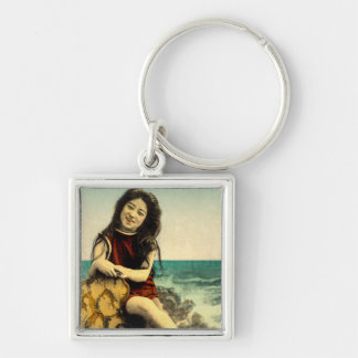 Vintage Japanese Swimsuit Bathing Beach Beauty Silver-Colored Square Key Ring
