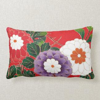 Vintage Japanese Textile - Red Dahlias Lumbar Cushion