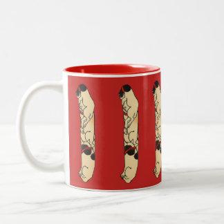 Vintage Japanese Totem Pole Cats Two-Tone Coffee Mug