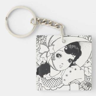 Vintage japaneses manga kawaii girl ink tattoo key ring