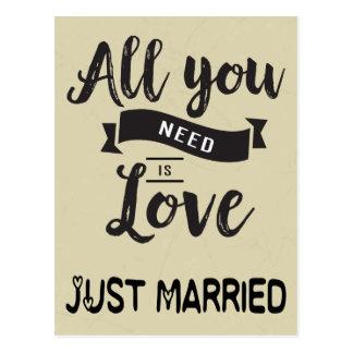 Vintage Just Married Tan & Black Wedding Love Postcard