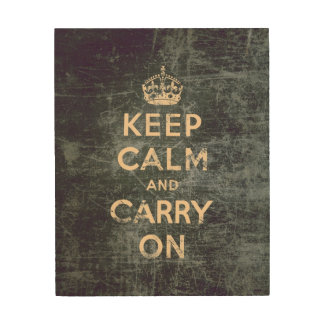 Vintage keep calm and carry on - Grey Wood Wall Decor