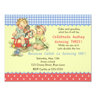 Vintage Kids and Cockhorse Birthday Party 11 Cm X 14 Cm Invitation Card