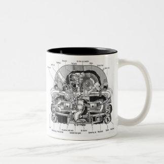 Vintage Kitsch Auto Engine Motor Illustration Coffee Mug