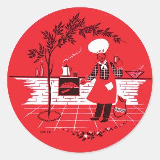 Vintage Kitsch BBQ Barbecue Suburban Dad Round Sticker