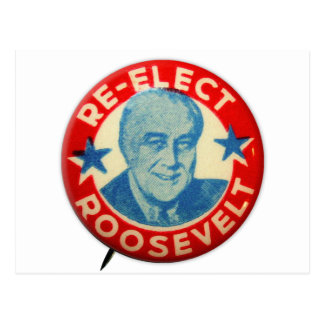 Vintage Kitsch Re-Elect Roosevelt Button Art FDR Postcard