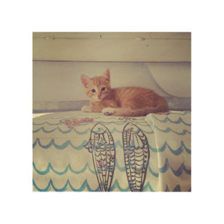 Vintage Kitten Wood Print