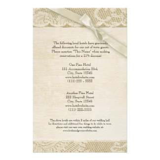 Vintage Lace and Burlap Information Page Stationery