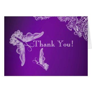 VINTAGE LACE & BUTTERFLIES PURPLE OMBRÉ Thank You Card