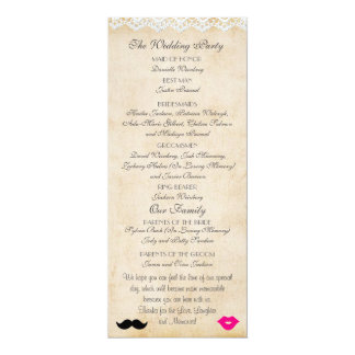 Vintage Lace Lips & Stache Wedding Program