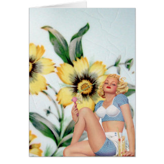 Vintage Lady and Yellow Flowers Card