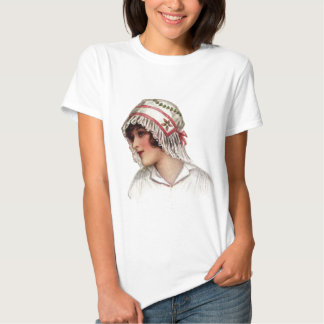 Vintage Lady Embroidery and Lace Bonnet T-shirts