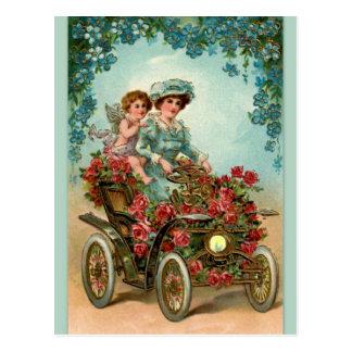 Vintage Lady fährt Auto mit Engel Postkarten