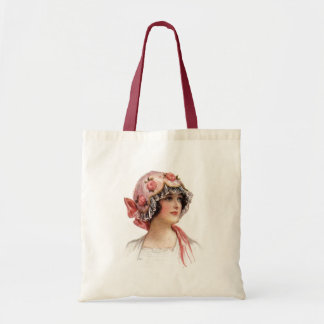 Vintage Lady in Silk Flowered Bonnet Budget Tote Bag