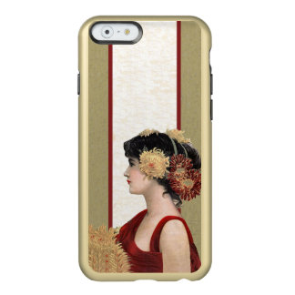 Vintage Lady Red Dress Big Pretty Flowers Incipio Feather® Shine iPhone 6 Case