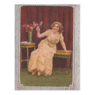 Vintage Lady Satisfied With Life Postcard