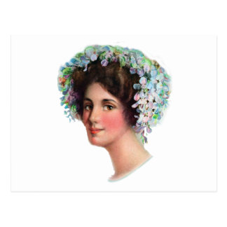 Vintage Lady with Flowers in Her Hair Postcard