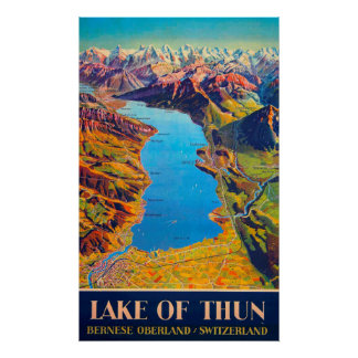 Vintage Lake of Thun Switzerland Travel Poster