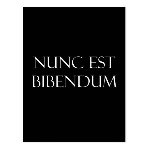 Vintage Latin Nunc Est Bibendum Drinking Quote Post Card
