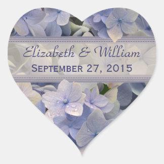 Vintage Lavender Hydrangea Heart Wedding Stickers