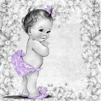 Vintage Lavender Purple Baby Girl Shower Standing Photo Sculpture