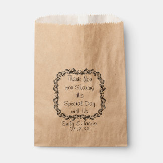Vintage Leafy Wreath Personalized Favor Bag Favour Bags