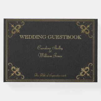 Vintage Leather Book Wedding Guestbook