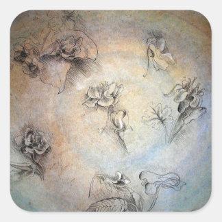 Vintage Leonardo Da Vinci Flowers Sticker