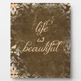 Vintage Life is Beautiful Quote Plaque