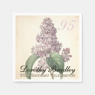 Vintage Lilac 95th Birthday Party Paper Napkins Standard Cocktail Napkin