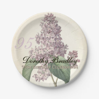 Vintage Lilac 95th Birthday Party Paper Plates 7 Inch Paper Plate