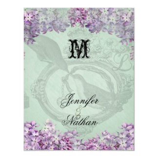 Vintage Lilacs Locket  Wedding RSVP Card