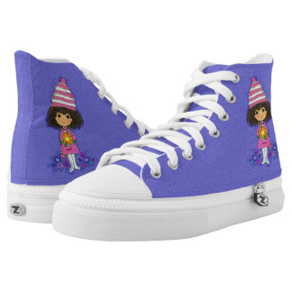 Vintage Little 1960s Girl Flowers on Purple High Tops