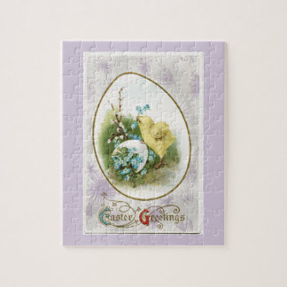 Vintage Little Chick and Egg Lavender Easter Jigsaw Puzzle