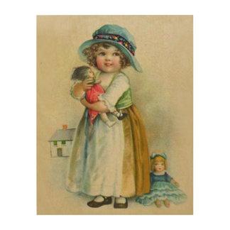 Vintage Little Girl Chubby Cheeks Hat Dolls Wood Wall Art