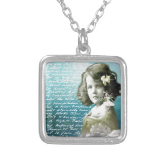 Vintage little girl with guardian angel pendant