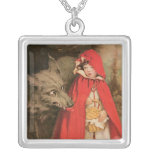 Vintage Little Red Riding Hood Jessie Wilcox Smith Square Pendant Necklace
