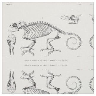 Vintage lizard skeleton textile fabric