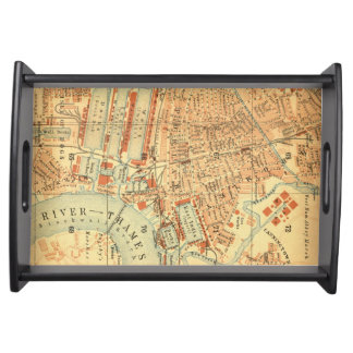 Vintage London Map Serving Tray