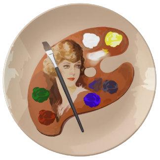 Vintage look artist palette porcelain plates